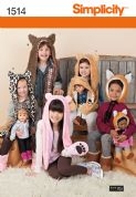 "1514 Simplicity Pattern: Child's and 45cm (18"") Doll Animal Hats"